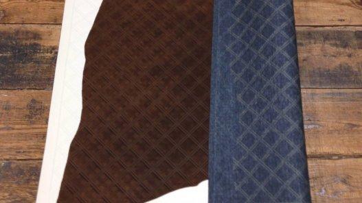 cuir de veau grain en relief matelassé cuirenstock fantaisie haute qualité couleur chaude