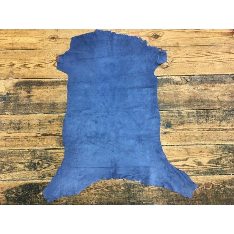 peau agneau velours bleu cuir en stock