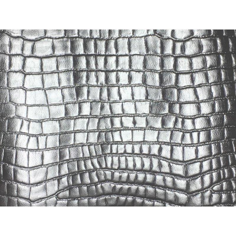 morceau de cuir fantaisie grain crocodile exotique argenté métallisé cuirenstock