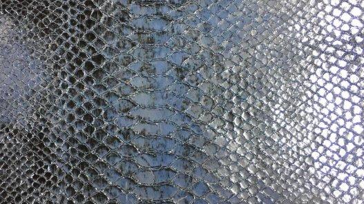 cuir imitation serpent exotique python bleu clair argenté