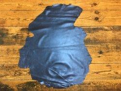 peau agneau métallisé bleu nuit cuir en stock