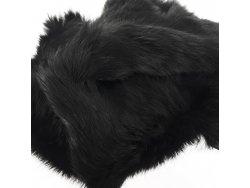 Cuir peau de lapin en poil Cuir en Stock Noir