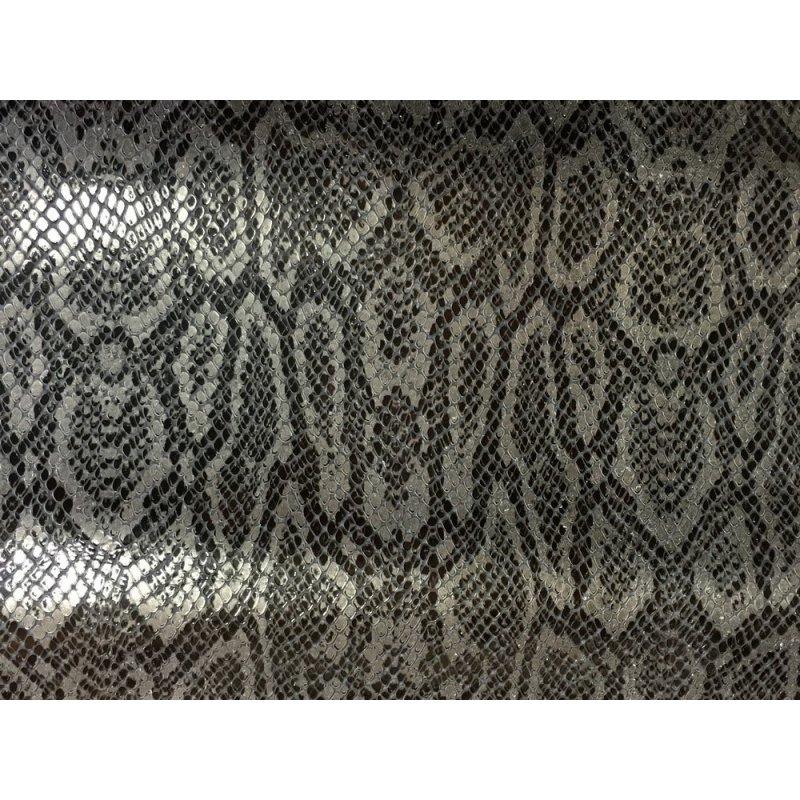 cuir fantaisie grain serpent gris argenté cuirenstock