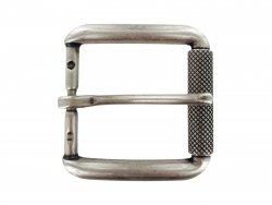 Boucle ceinture à rouleau laiton argent vieilli 35 mm