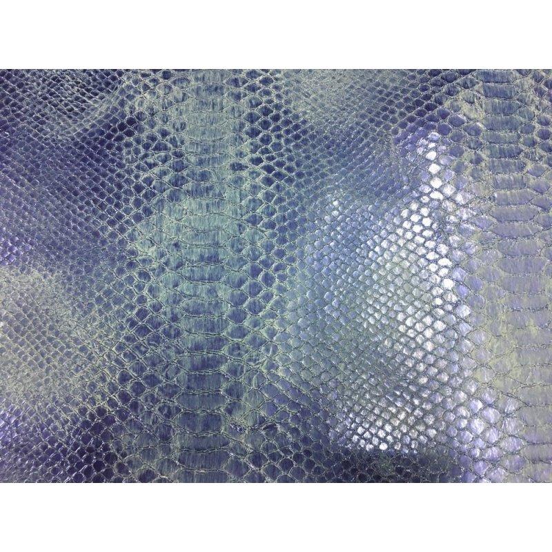 morceau de cuir rectangulaire grain python serpent violet métallisé cuirenstock
