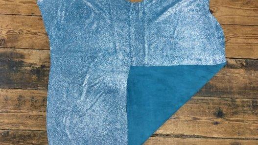 peau veau velours pailleté bleu turquoise Cuirenstock