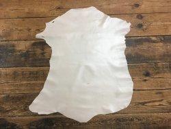 peau de cuir de chèvre métallisé blanc nacré accessoire Cuir en stock