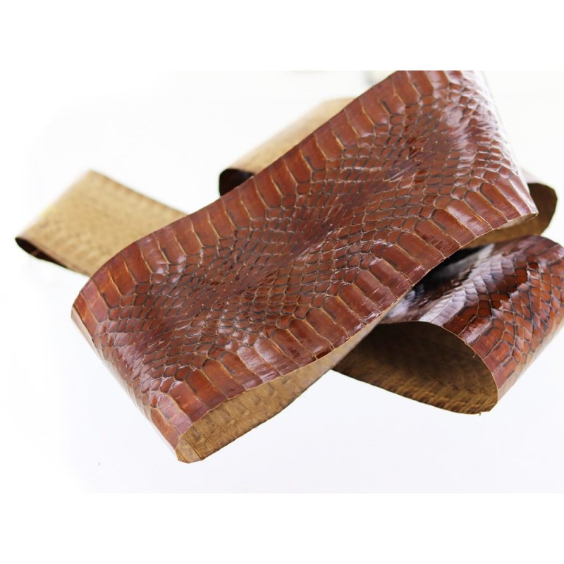 peau cuir de serpent marron Cuir en Stock
