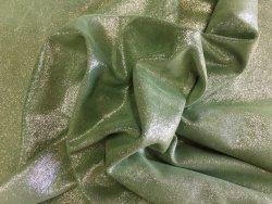 Peau de veau velours pailleté vert