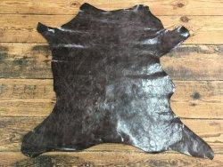 cuir de buffle ciré brun maroquinerie Cuir en Stock