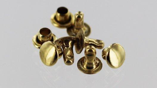 Lot 20 rivets simples acier finition laiton Cuir en Stock