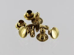 Lot 20 rivets simples acier finition laiton Cuir en Stock