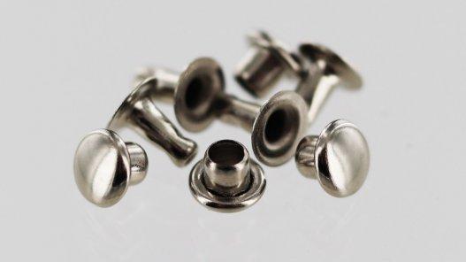 lot 20 rivets acier finition nickelé simples cuirenstock