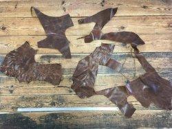 morceaux de cuir de vache ciré brun maroquinerie ameublement Cuirenstock