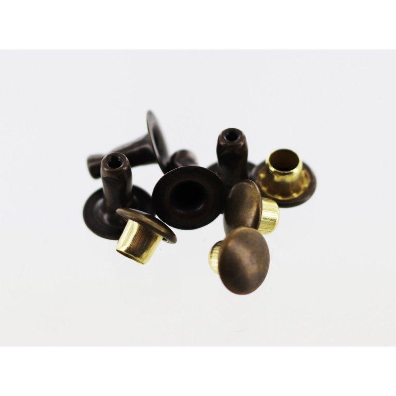 lot de 20 rivets simple calotte bronze vieilli taille R3 accessoire maroquinerie cuir en stock
