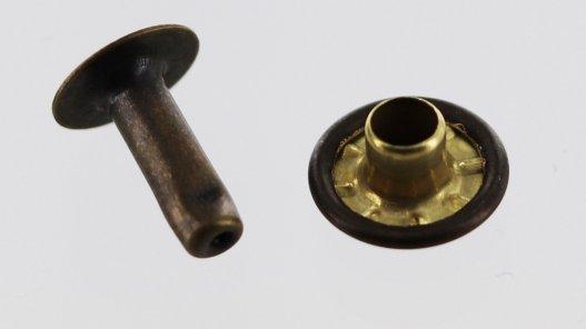 rivet simple calotte acier professionnel bronze vieilli accessoire maroquinerie Cuir en Stock