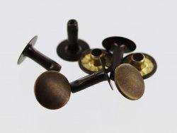lot de 20 rivets simple calotte acier bronze vieilli taille R6 accessoire maroquinerie cuir en stock