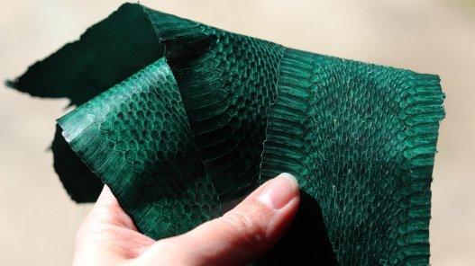 morceau peau de serpent verte travail du cuir Cuirenstock
