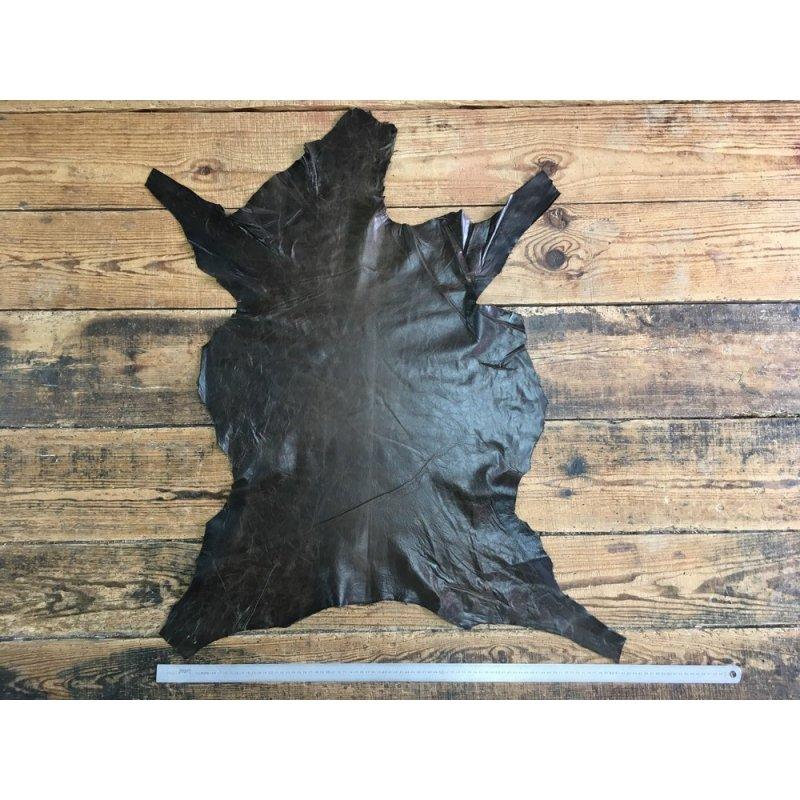 peau d'agneau ciré antique vert brun maroquinerie accessoire cuir en stock