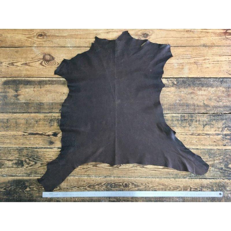 peau de cuir d'agneau nappa ciré brun vêtement accessoire cuir en stock