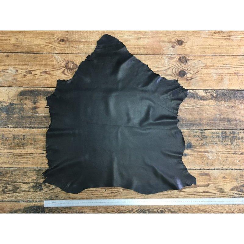peau de cuir d'agneau nappa noir satiné lisse cuir en stock