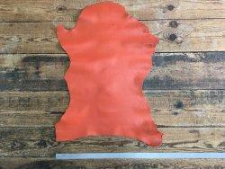 peau de cuir de chèvre grain chagrin orange maroquinerie accessoire cuir en stock