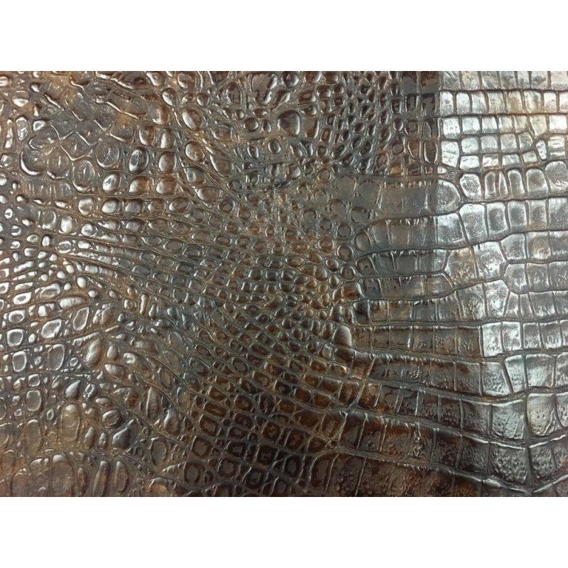 morceau de cuir de vache grain crocodile antique brun cuir en stock