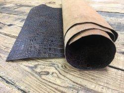 bande de cuir de vache façon grain crocodile antique brun maroquinerie accessoire Cuirenstock
