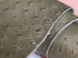 cuir fantaisie grain autruche kaki