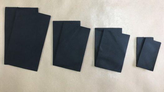 lot de 2 morceaux de cuir de vachette noir cuir en stock
