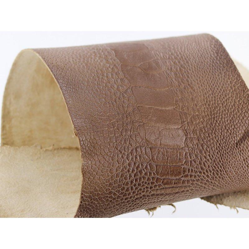 peau de cuir de patte d'autruche brun taupe mat exotique luxe maroquinerie accessoire cuir en stock