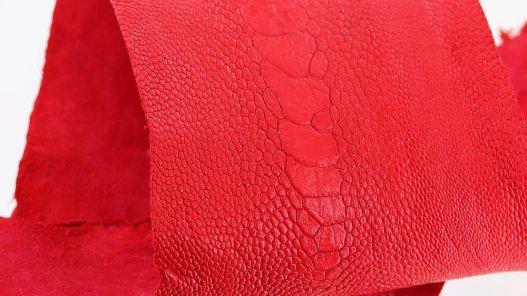 peau de patte d'autruche rouge mat maroquinerie accessoire luxe exotique cuir en stock