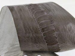 peau de patte d'autruche gris brillant accessoire luxe exotique cuir en stock