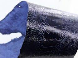 peau de cuir d'autruche bleu france brillant maroquinerie accessoire luxe exotique cuirenstock