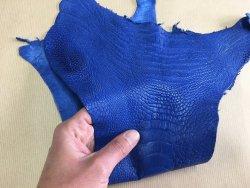 morceau de cuir de patte d'autruche bleu outremer maroquinerie accessoire luxe exotique Cuirenstock