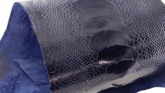 peau de patte d'autruche bleu marine brillante maroquinerie accessoire luxe exotique cuir en stock