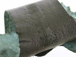 peau de patte d'autruche vert forêt mat maroquinerie accessoire luxe exotique cuir en stock
