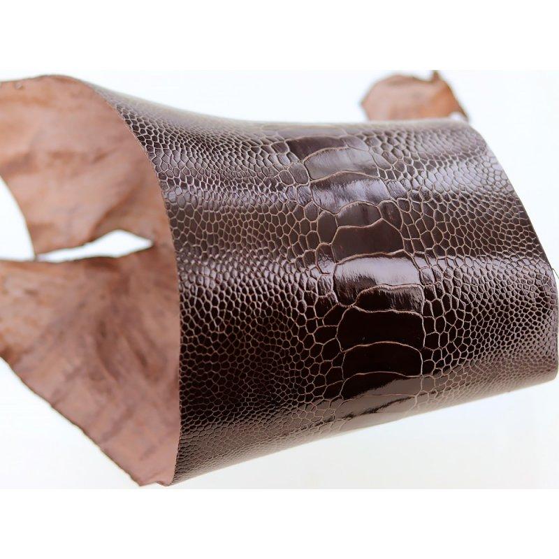 peau de patte d'autruche marron brillant maroquinerie accessoire luxe exotique cuir en stock