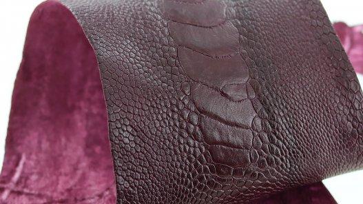 peau de patte d'autruche bordeaux mat maroquinerie accessoire exotique luxe cuir en stock