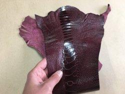 morceau peau de patte d'autruche bordeaux brillant maroquinerie accessoire exotique luxe Cuir en Stock