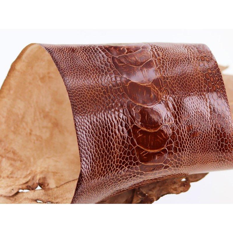 peau de patte d'autruche marron gold brillant maroquinerie accessoire luxe exotique cuir en stock
