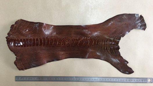 peau de patte d'autruche marron gold brillant maroquinerie accessoire luxe exotique cuirenstock