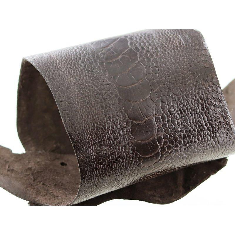 peau de patte d'autruche marron mat maroquinerie accessoire luxe exotique cuir en stock