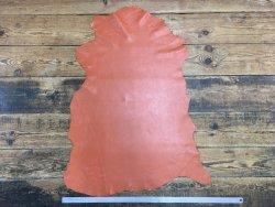 peau de cuir de mouton satiné orange cuir en stock