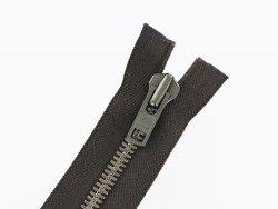 fermeture eclair brun zip metal laiton vieilli ykk divisible couture cuir cuir en stock 54cm