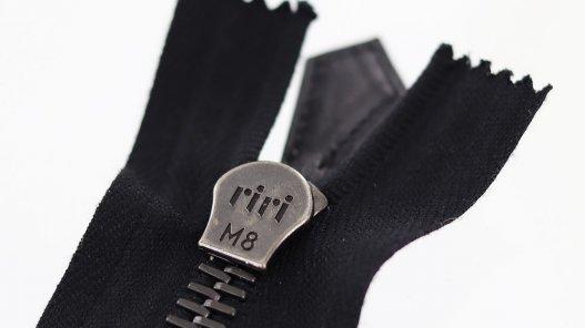 fermeture éclair noire métal riri-m8 non divisible 36cm Cuirenstock couture cuir