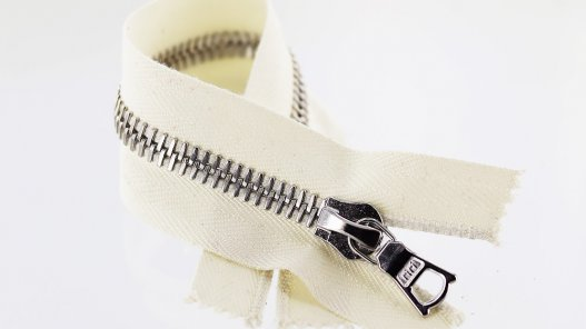 fermeture glissière blanc casse zip métal argente riri mayer m8 20cm cuir cuirenstock non divisible