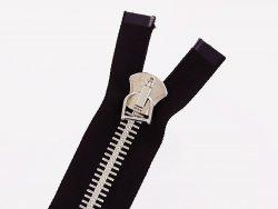 grosse-fermeture-eclair-divisible-zip-metal-argente-noire-88cm-excella-cuir en stock