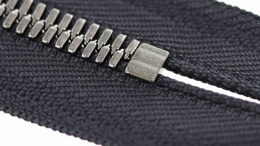 zip-couture-noir-metal-argente-vieilli-ykk-23cm-Cuir en Stock