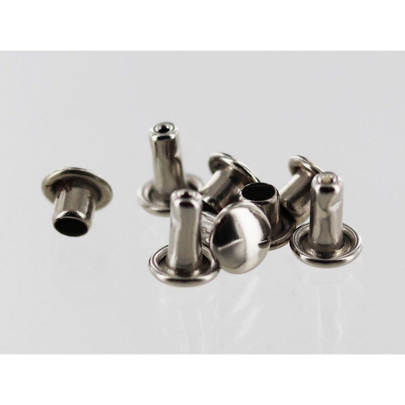 Lot rivets acier nickelé accessoire maroquinerie cuir en stock